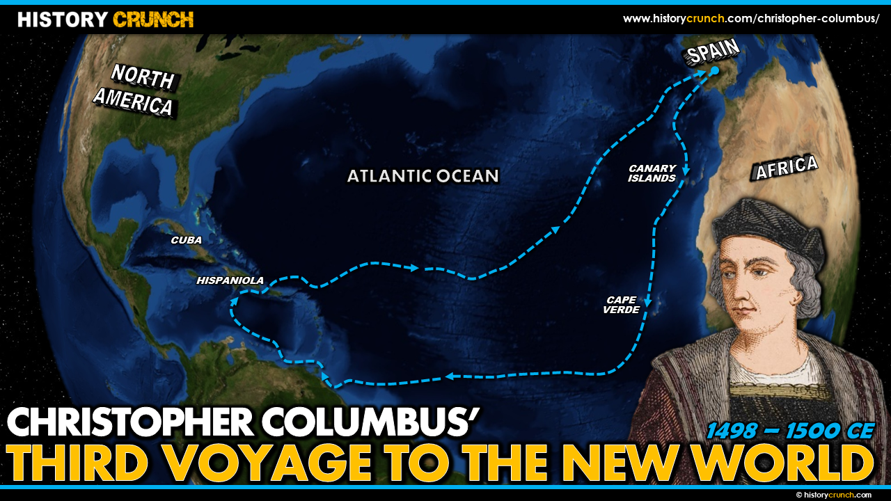 Christopher Columbus' Third Voyage to the New World Map