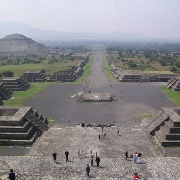 Avenue of the Dead at Teotihuacan with the Pyramid of the Sun